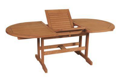οβάλ ανοιγόμενο τραπέζι από balau wood