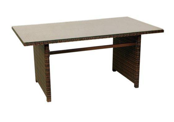 τραπέζι με τζάμι και επένδυση ραττάνν