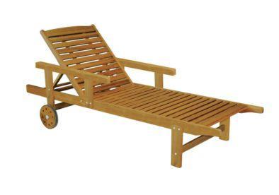 ξύλινη ξαπλώστρα με μπράτσα και ροδάκια