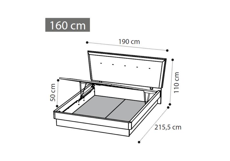 διαστασεις 160 κρεβατιου μπαουλο