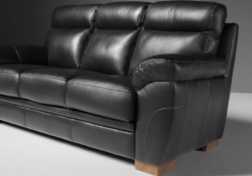 Μαύρος Ιταλικός Δερμάτινος Καναπές