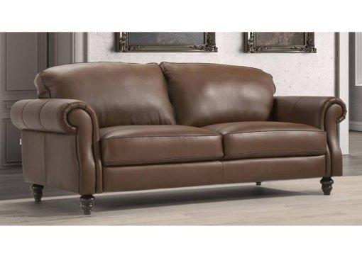 Τριθέσιος κλασικός δερμάτινος Ιταλικός καναπές Watford