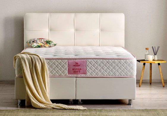 Λευκή βάση - κρεβάτι ντυμένη με δερματίνη