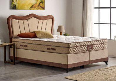 Υφασμάτινο κλασικό κρεβάτι με αποθηκευτικό χώρο