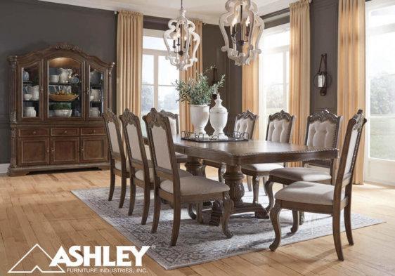 ashley τραπεζαρία σετ με καρέκλες σκαλιστή κλασική