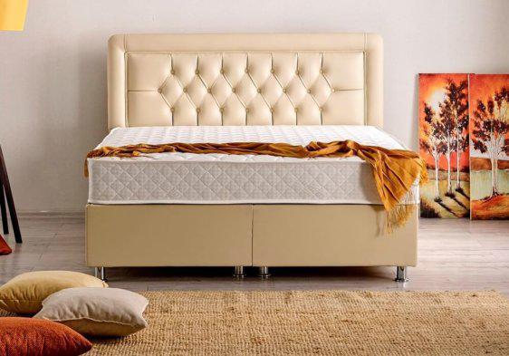 Δερμάτινο κρεβάτι με αποθηκευτικό χώρο