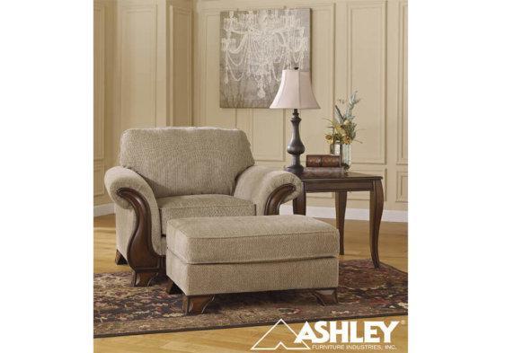 κλασική πολυθρόνα ashley με ξύλο και ύφασμα