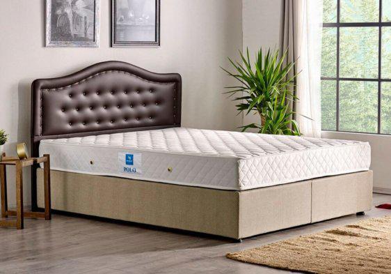 Κρεβάτι με ύφασμα και δερματίνη