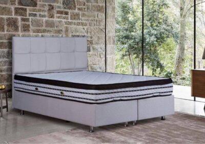 Κρεβάτι με αποθηκευτικό λευκό του πάγου