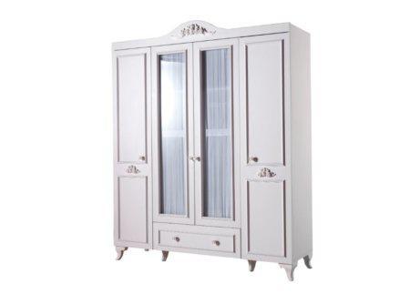 τετράφυλλη vintage ντουλάπα λευκή