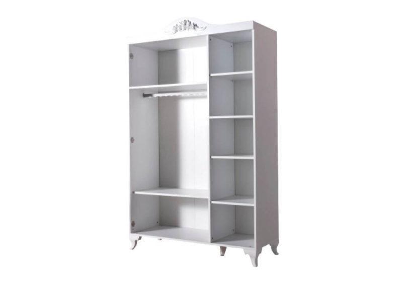 τρίφυλλη λευκή ντουλάπα vintage εσωτερικό