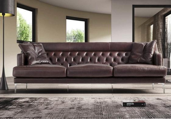 Αριστοκρατικός καναπές καφέ δερμάτινος