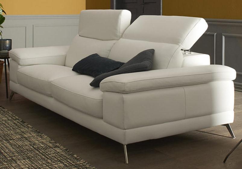 Λευκός Μοντέρνος Δερμάτινος Καναπές