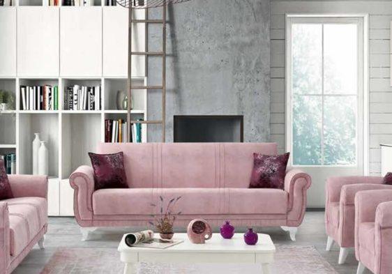 Ροζ Καναπές Κρεβάτι με Λευκά Πόδια Ef-105091