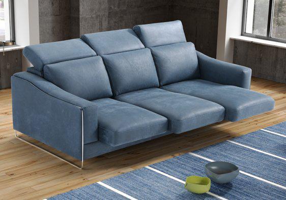 Δερμάτινος καναπές με συρόμενα καθίσματα
