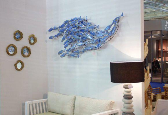 Διακοσμητικό τοίχου μεταλλικό με μπλε ψαράκια