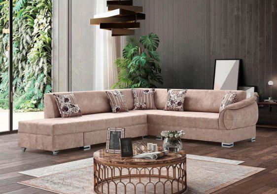 Γωνιακός καναπές με συρόμενη γωνία