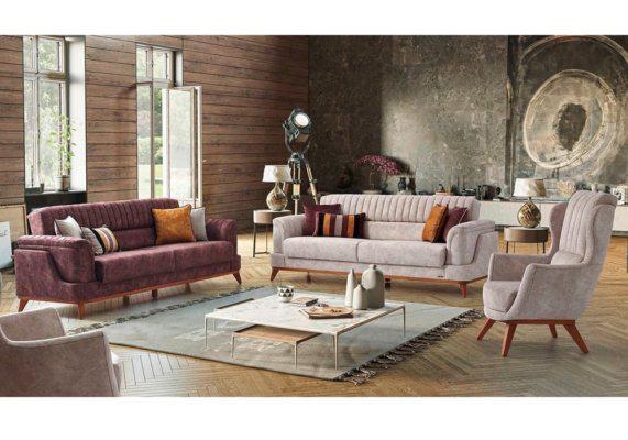 Σαλόνι ιταλικό με καναπέ κρεβάτι, ιταλική εκρού μπρεζέρα