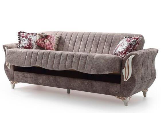 Καναπές Κρεβάτι με Λευκές Ξύλινες Λεπτομέρειες