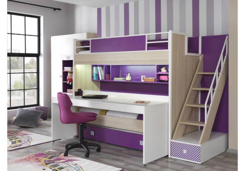 κουκέτα διπλή για κορίτσια με γραφείο και βιβλιοθήκη