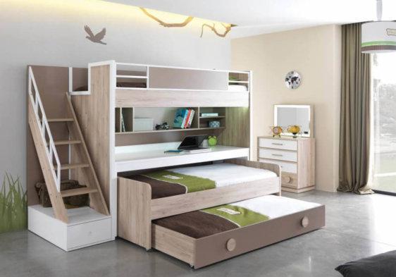 κουκέτα με δύο κρεβάτια συρτάρι γραφείο