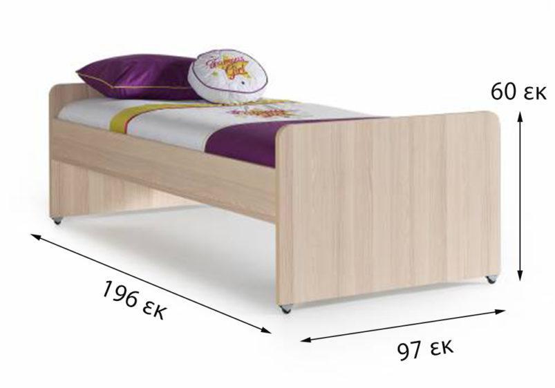κρεβάτι μονό μωβ φυσικό