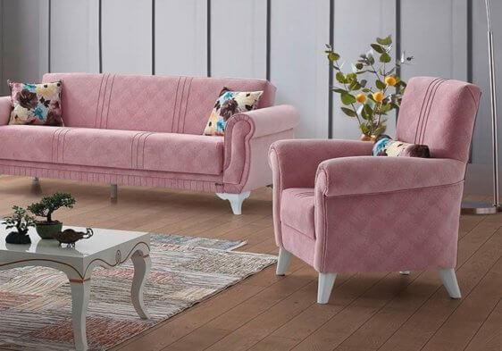 Ροζ πολυθρόνα σαλονιού με λευκό πόδι