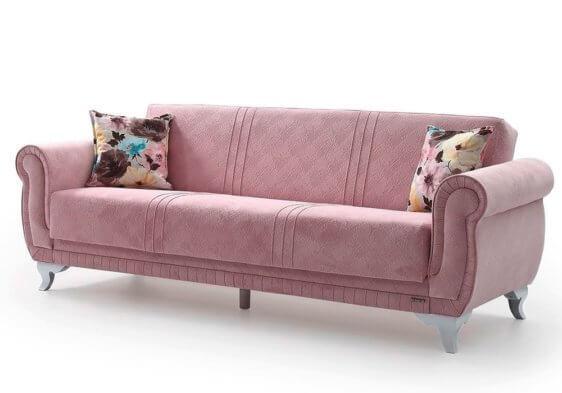 Ροζ Καναπές Κρεβάτι με Λευκά Πόδια