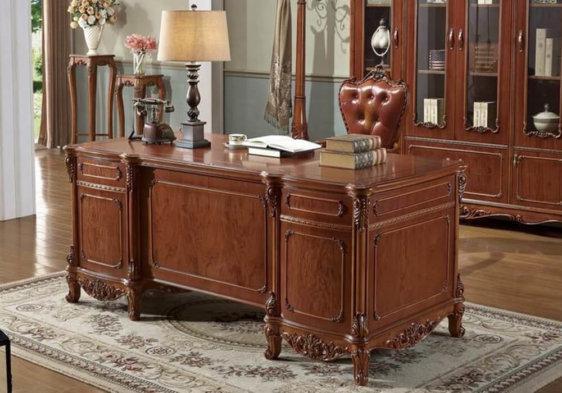 σκαλιστό ξύλινο γραφείο καρυδί χρώμα