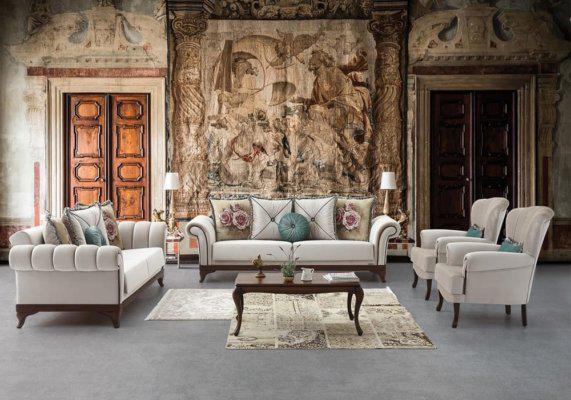 Ιταλικό σαλόνι με λευκούς vintage καναπέδες που γίνονται κρεβάτι, ιταλικό design