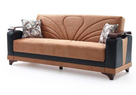 Υφασμάτινος καναπές κρεβάτι με ξύλινα μπράτσα