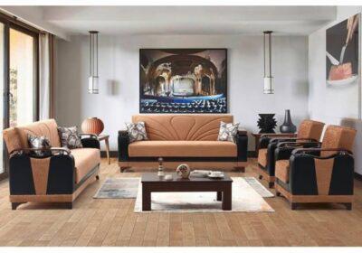 Υφασμάτινος Καναπές Κρεβάτι με Ξύλινα Μπράτσα Ef-105084