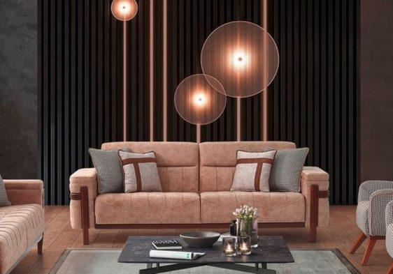 Καναπές κρεβάτι με ξύλινες λεπτομέρειες Ef-105115