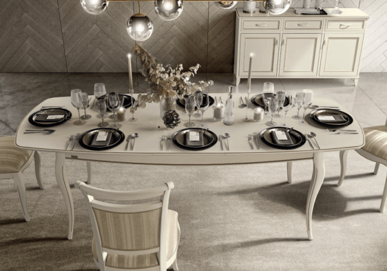 Ιταλικό λευκό τραπέζι τραπεζαρίας