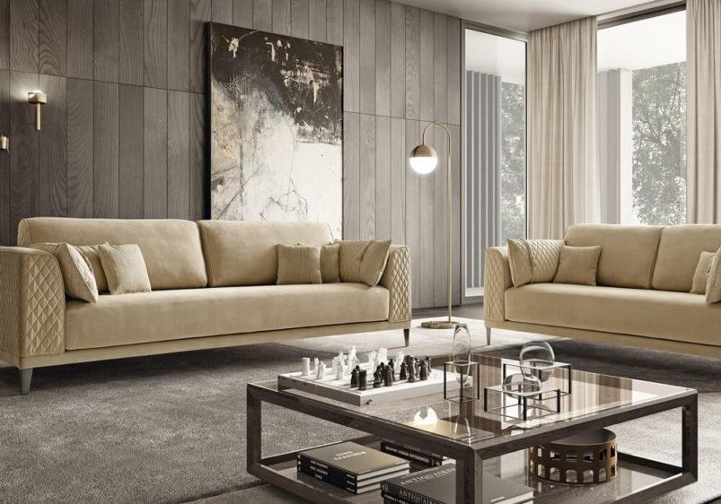 μοντέρνο σαλόνι με τετράγωνο τραπεζάκι