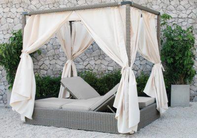 διπλός καναπές ξαπλώστρα rattan με σκελετό αλουμινίου