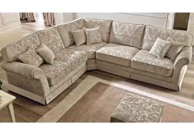 Γωνιακός καναπές με εκρού κλασικό ύφασμα