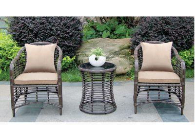 καθιστικό σετ κήπου rattan 3 τεμαχίων