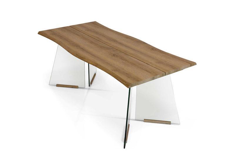 μεγάλο τραπέζι με ξύλινη επιφάνεια και γυάλινα πόδια