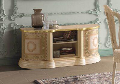 Κλασικό ιβουάρ με χρυσό μαίανδρο έπιπλο τηλεόρασης