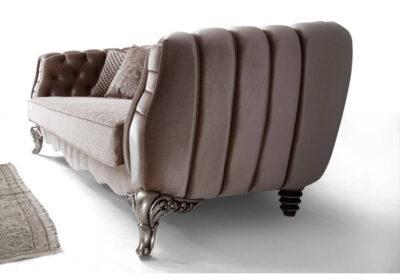 luxury νεοκλασικός καναπές βελούδινο με σκαλιστά ποδαρικά σε μωβ ύφασμα