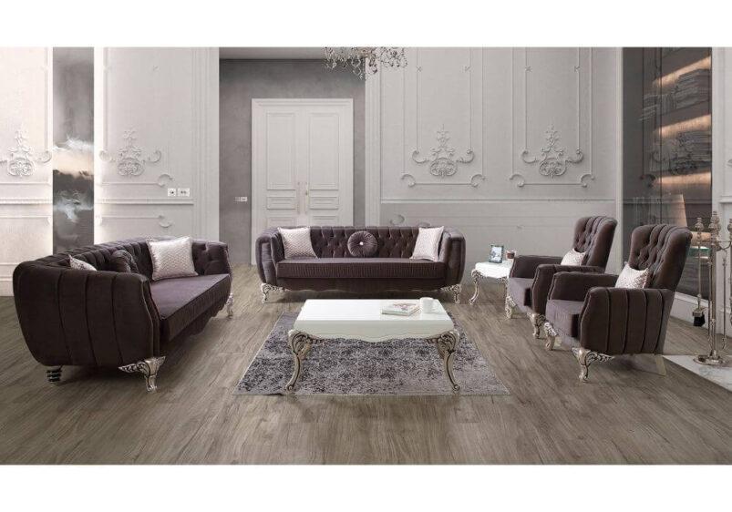 luxury νεοκλασικό σαλόνι βελούδινο με σκαλιστά ποδαρικά σε μωβ ύφασμα