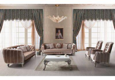 luxury νεοκλασικό σαλόνι βελούδινο με σκαλιστά ποδαρικά