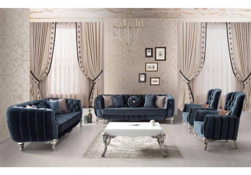 luxury νεοκλασικό σαλόνι βελούδινο με σκαλιστά ποδαρικά σε μπλε ύφασμα