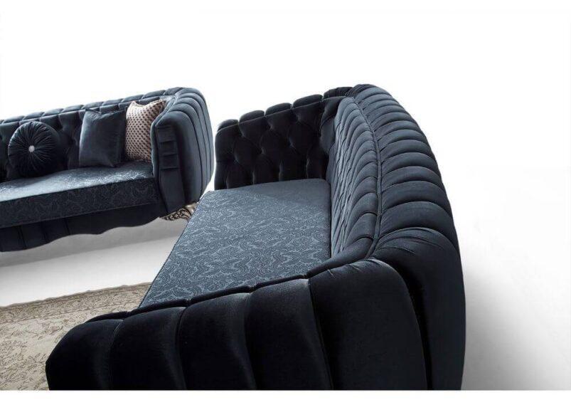 luxuryσε ύφασμα blue navy καναπές καπιτονέ σετ