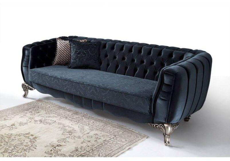 luxuryσε ύφασμα blue navy καναπές καπιτονέ