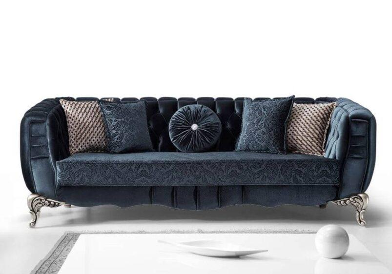 luxury σε ύφασμα blue navy καναπές καπιτονέ εμπρός όψη