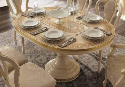 Τραπέζι ροτόντα με κολώνα ιβουάρ με χρυσό μαίανδρο με επέκταση -επιφάνεια-