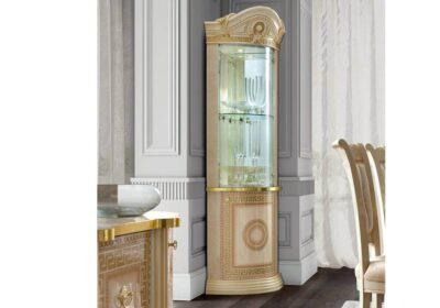 Βιτρίνα γωνιακή ιβουάρ κλασική με χρυσό μαίανδρο
