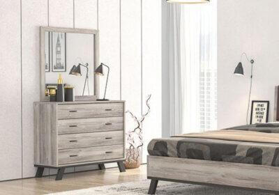 Μοντέρνα συρταριέρα σε σταχτί χρώμα με μεταλλικά ποδαράκια